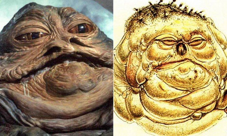 "Antes y después de bocetos de Jabba the Hutt. ""Star Wars"""
