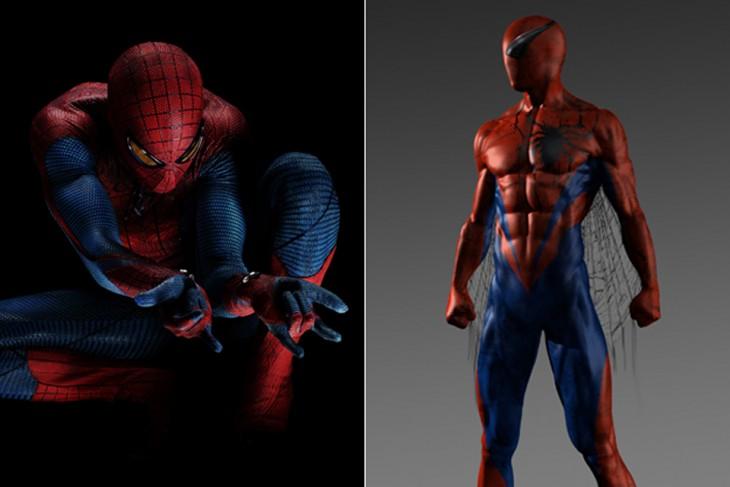 """Antes y después de bocetos de Spiderman, """"El increíble Hombre Araña"""""""