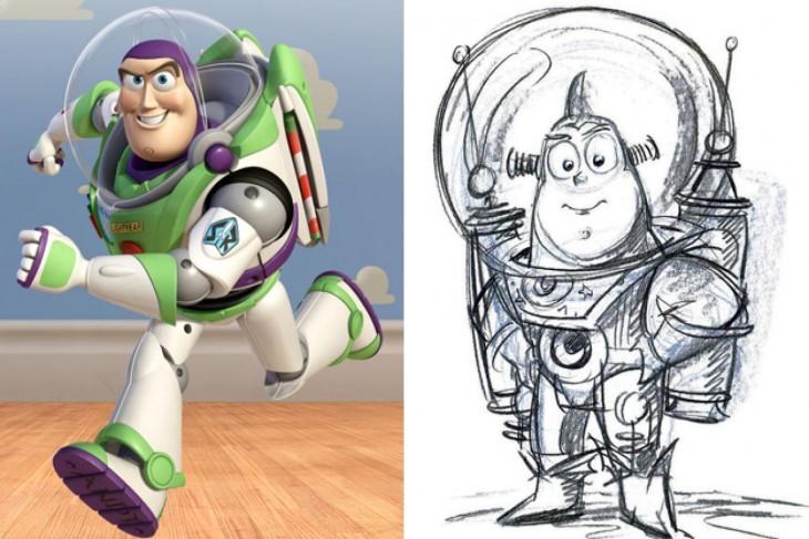 """Comparación del boceto primero de Buzz Lightyear, """"Toy Story"""""""