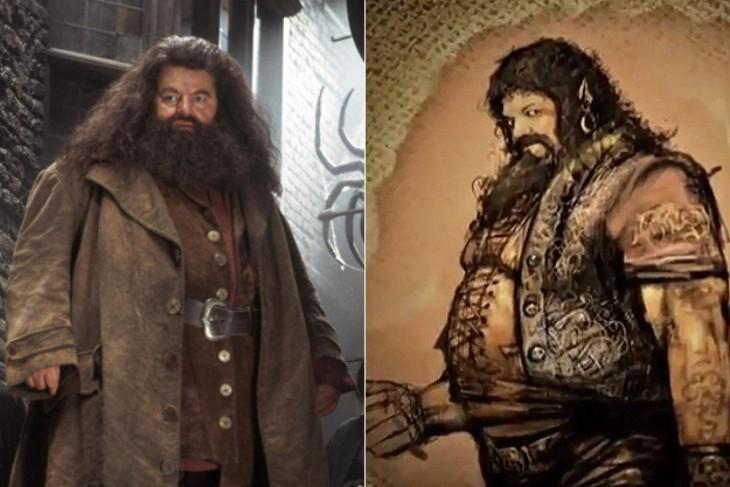 """Comparación del boceto de Hagrid, de """"Harry Potter"""""""