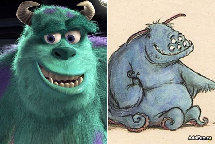 "Comparación del boceto temprano de Sullivan, ""Monsters Inc"""