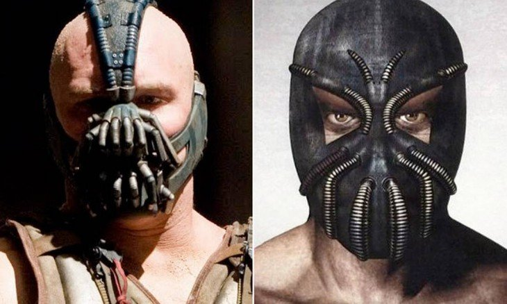 "Comparación del boceto de Bane, ""The Dark Knight Rises"""