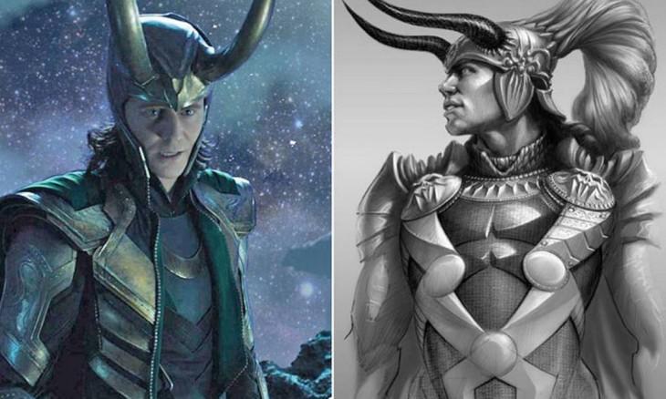 """Comparación del boceto tempranop de Loki, """"Thor"""""""