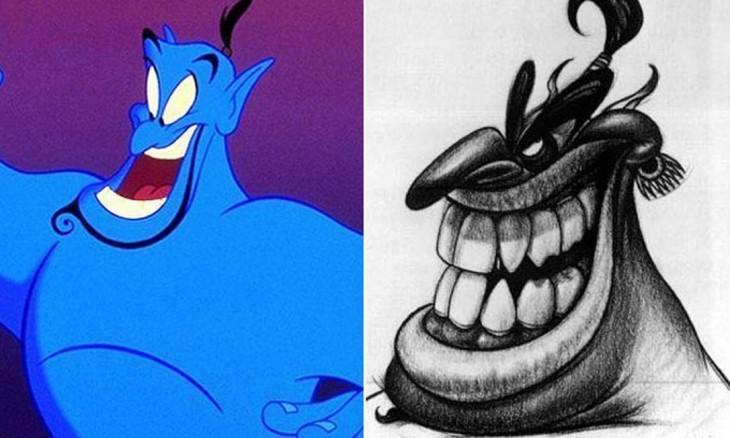 """Comparación del boceto de Genio, """"Aladdin"""""""