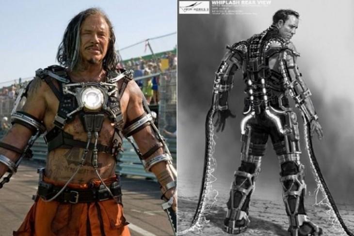 """Comparación del boceto de Whiplash, """"Iron Man 2"""""""