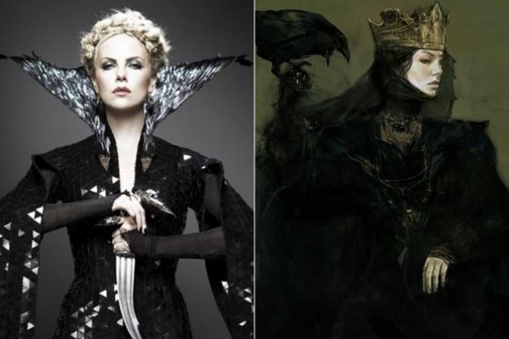 """Comparación del primer boceto con el final de Ravenna, """"Blancanieves y el cazador"""""""