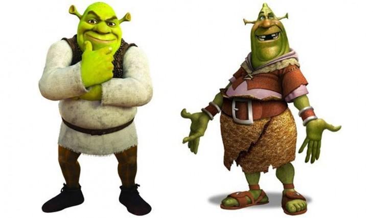 Comparación de bocetos primeros últimos de Shrek