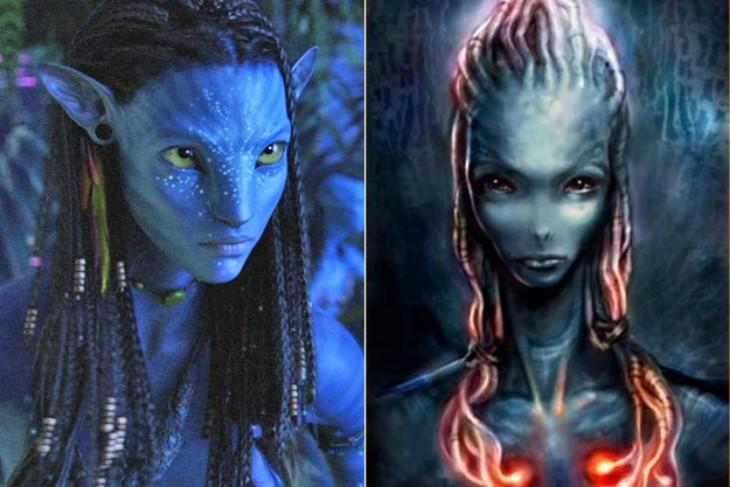 """Comparación del boceto primero con el final de Neytiri, """"Avatar"""""""
