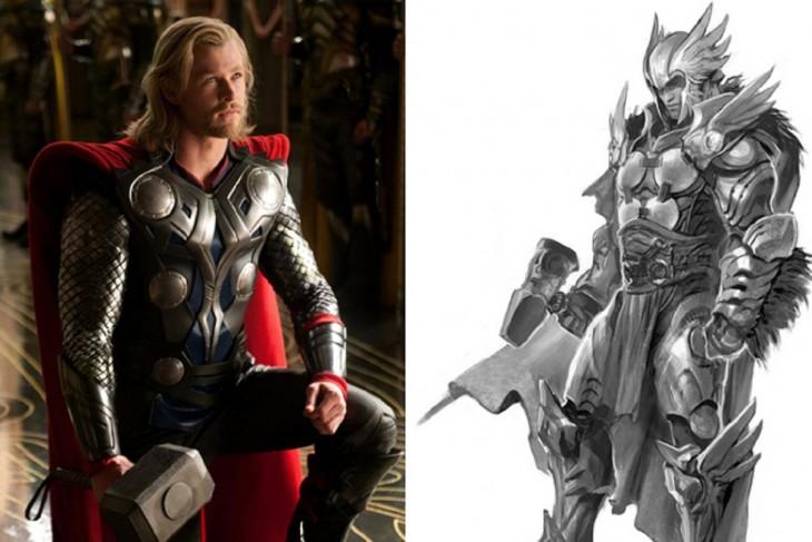 Comparación del boceto primero con el final de Thor