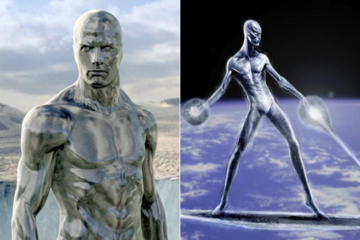 """Comparación de bocetos de Silver Surfer. """"Los cuatro fantásticos y Silver Surfer"""""""