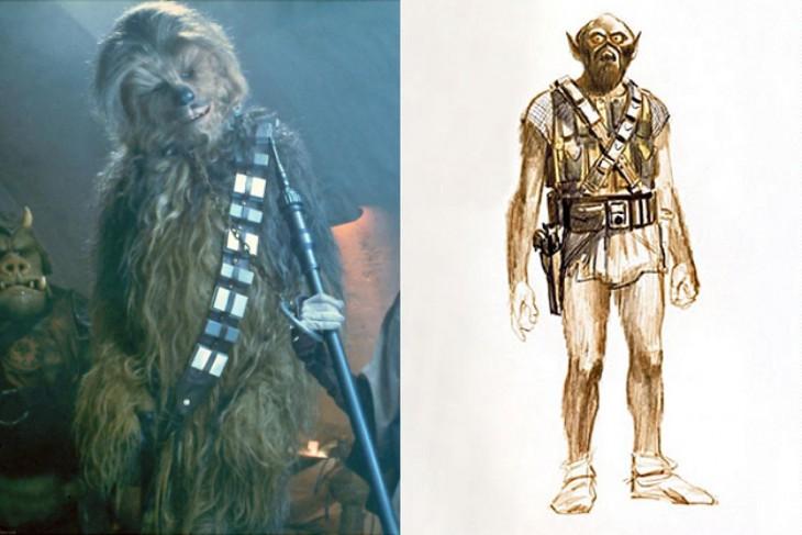 """Comparación de boceto final y boceto primero de Chewbacca, """"Star Wars"""""""