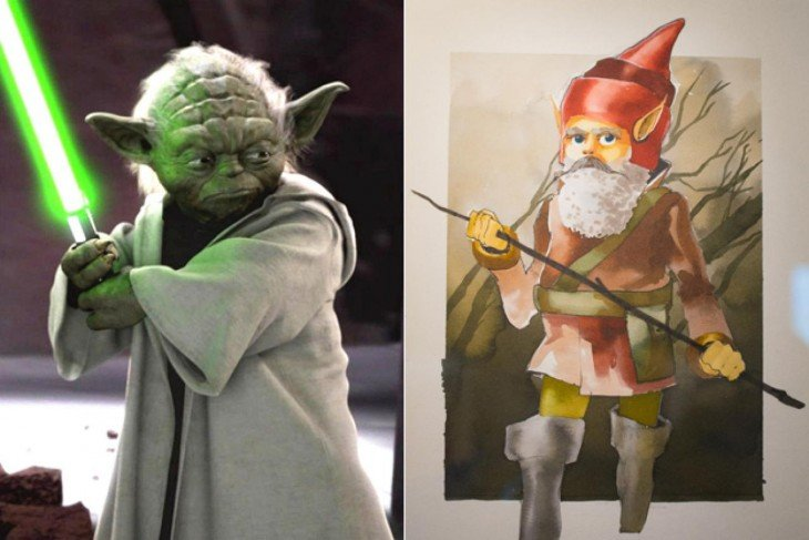 "Comparación de bocetos de Yoda, ""Star Wars""."