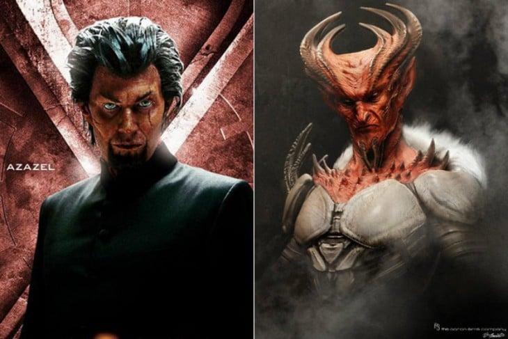 """Antes y después de bocetos de Azazel, """"X-men: Primera Generación"""""""
