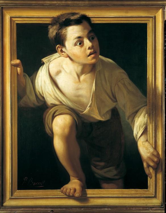 pintura niño asómandose por ventana