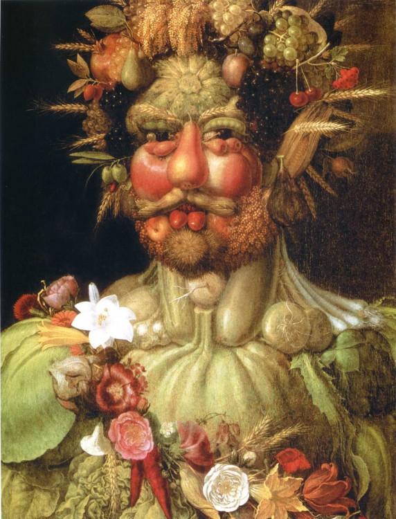 Pintura hombre con verduras