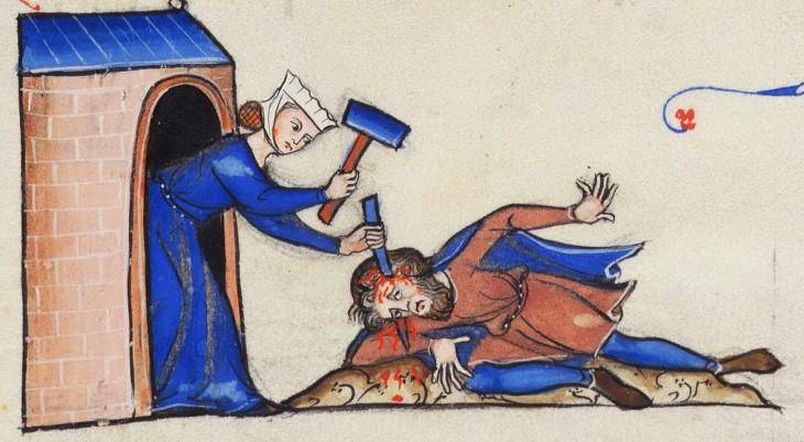 pintura mujer haciendo un hoyo en la cabeza de su esposo