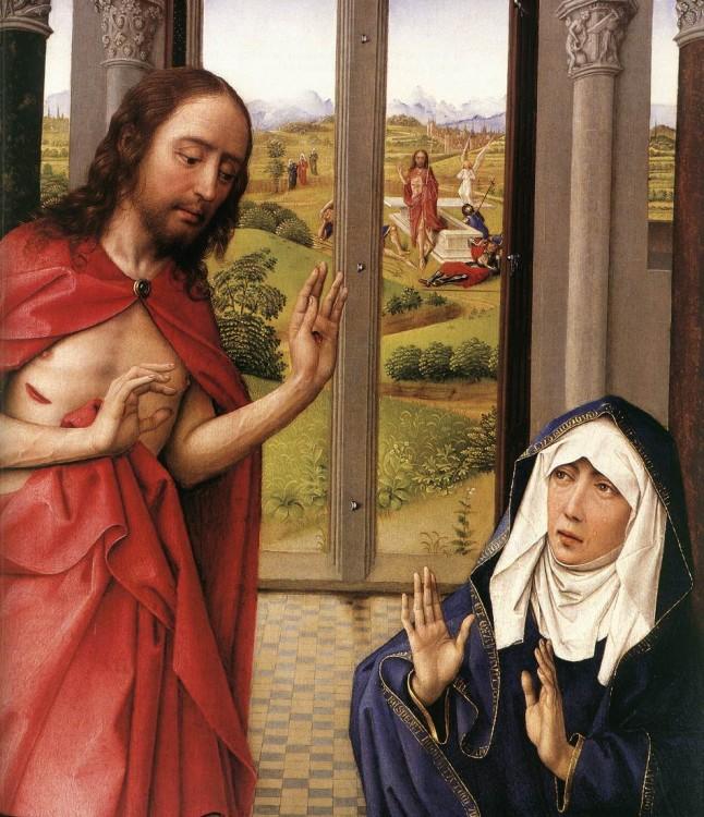 pintura aparición de cristo a maria