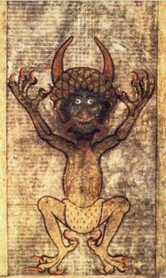 pintura de bebé diablo