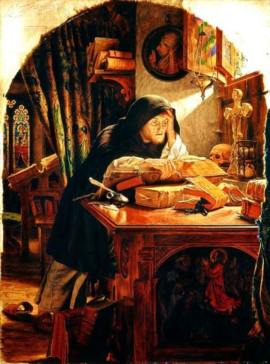 Pintura hombre leyendo