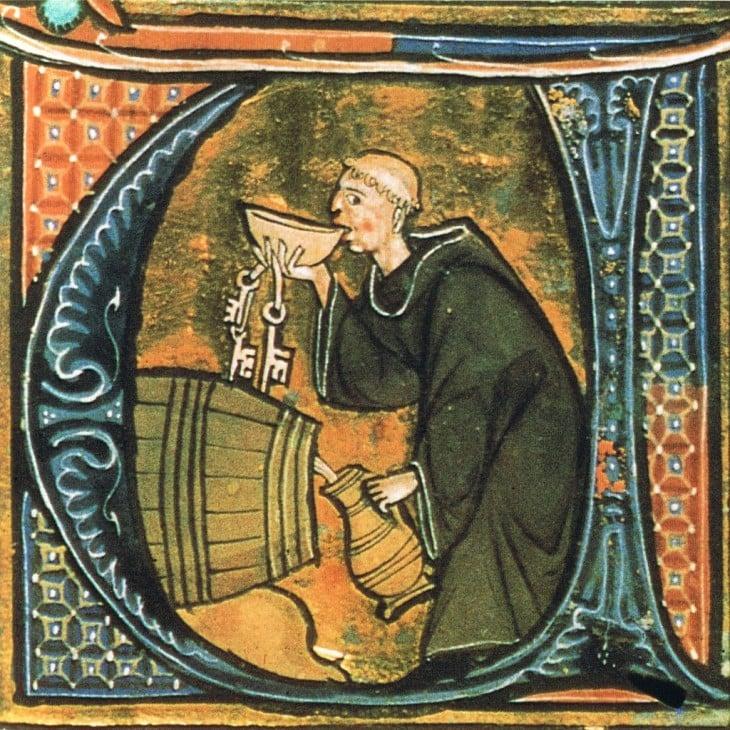 pintura hombre bebiendo de un barril