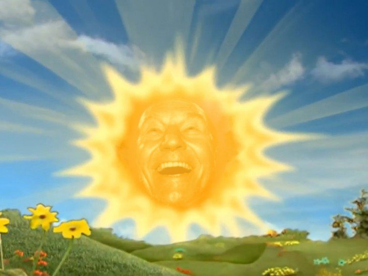 Patrick Stewart photoshop, sol teletubbies