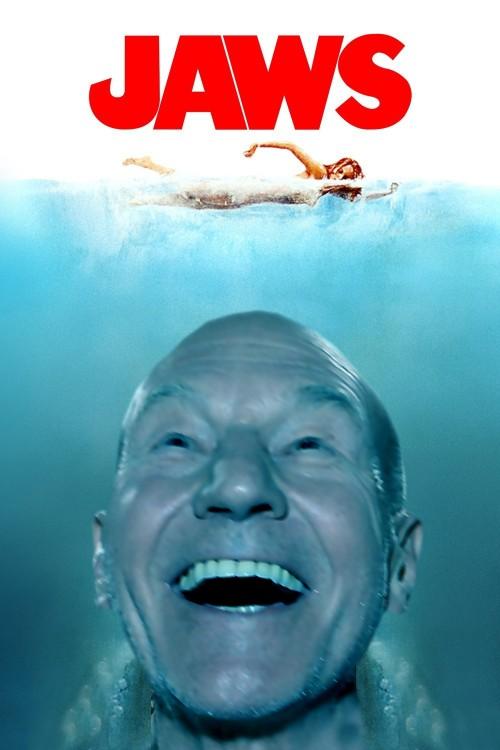 Patrick Stewart photoshop, tiburón