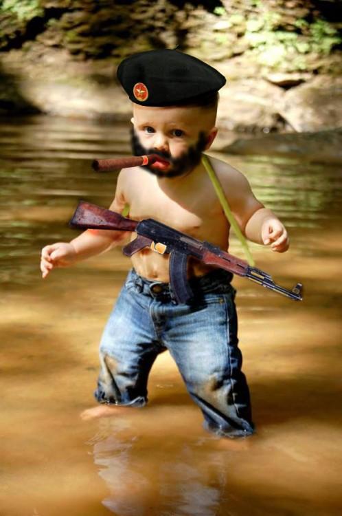 Photoshopean a bebé, militar barba