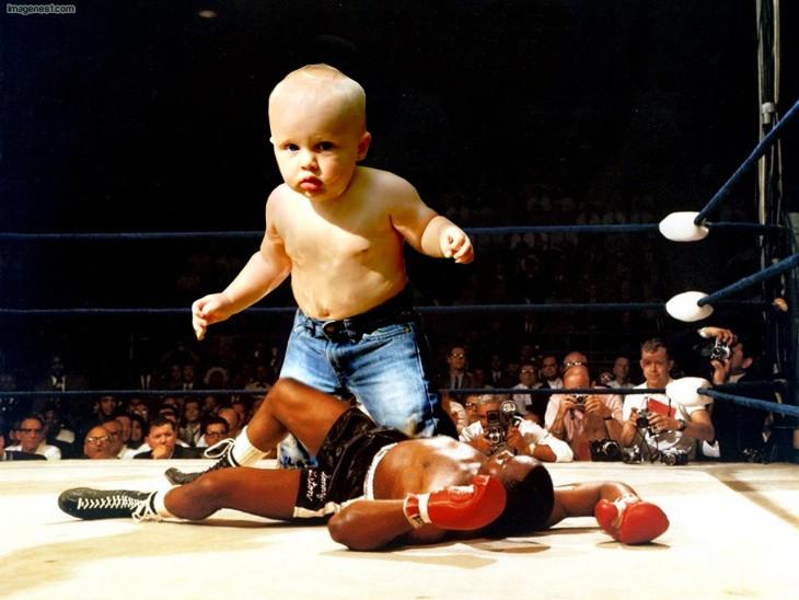 Photoshopean a bebé, boxeo