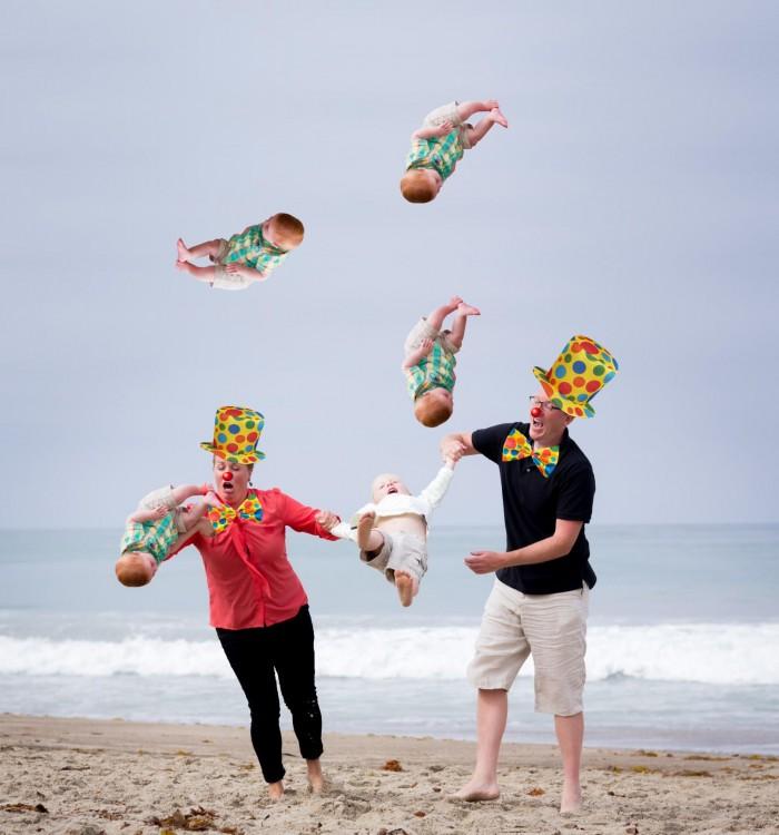 Photoshop niño cae en la playa malabares