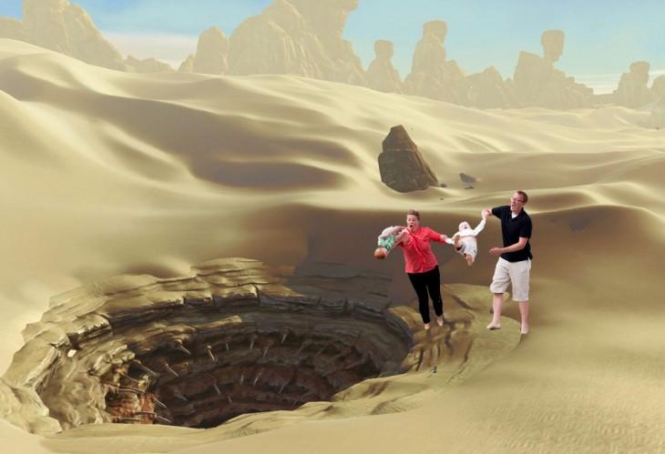 Photoshop niño cae en la playa desierto