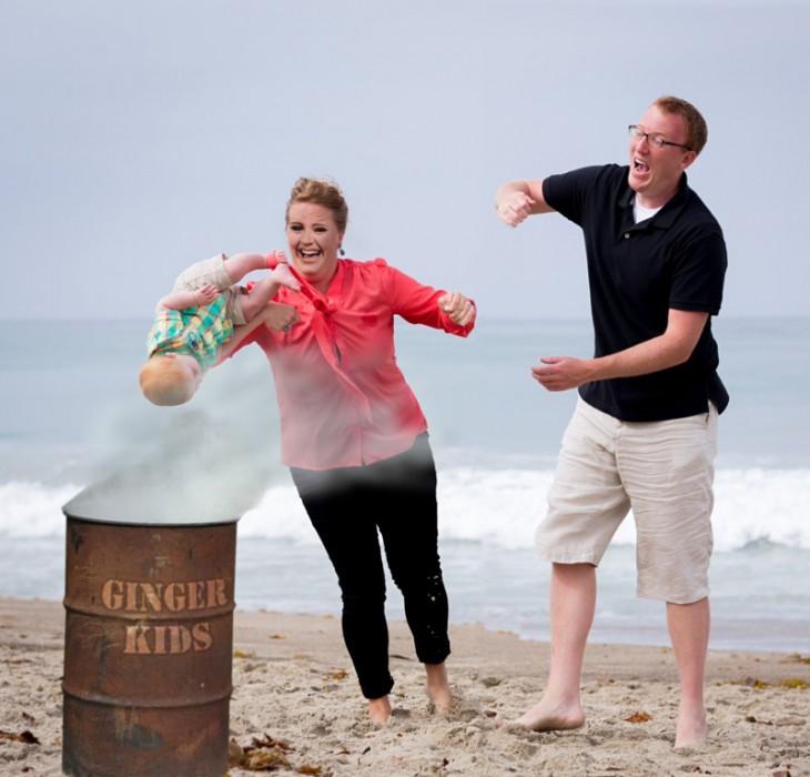 Photoshop niño cae en la playa tambo de deshechos