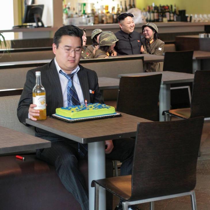 Photoshop de solitario cumpleañero con kim jong un