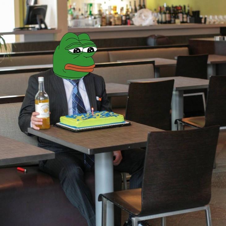 Photoshop de solitario cumpleañero rana triste
