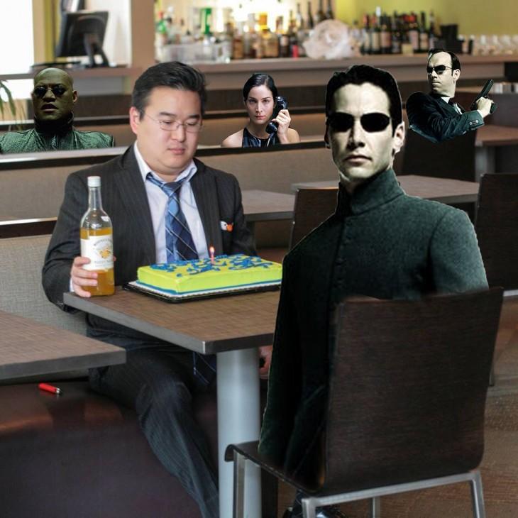 Photoshop de solitario cumpleañero con matrix