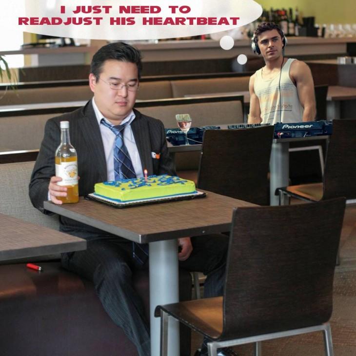Photoshop de solitario cumpleañero con zack efron