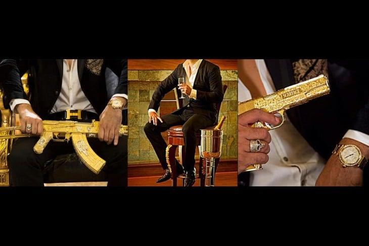 narco junior con armas de oro