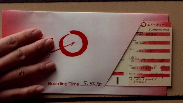 beatrix kiddo kill bill boleto de avion a japon