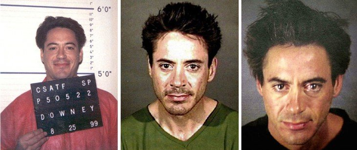 Drogado y desde la cárcel Robert Downey Jr