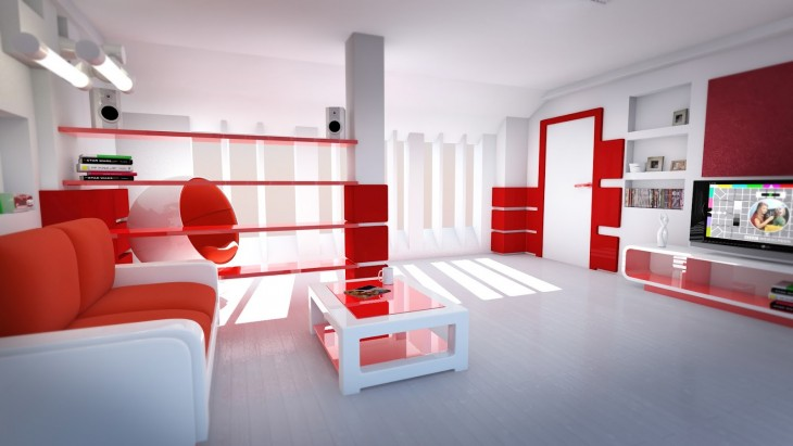 Casa limpia blanco con rojo