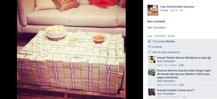 montaña de dolares narco en red social