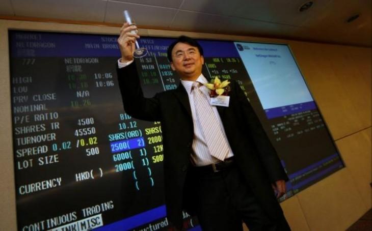 Celebrando en la bolsa de valores de China