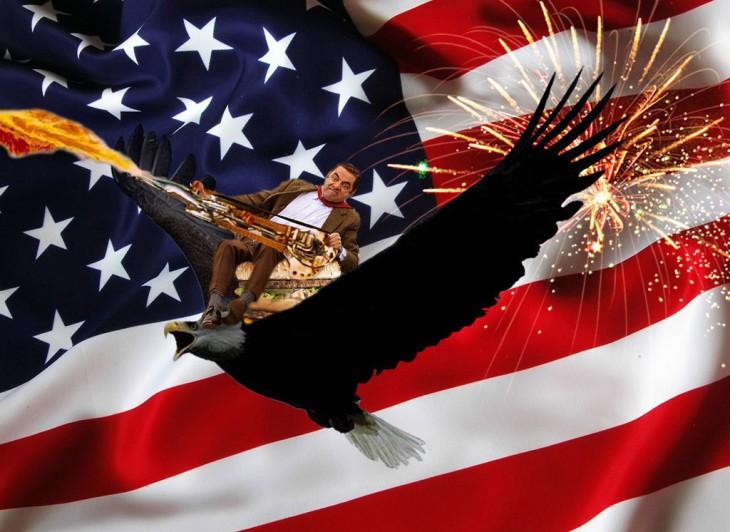 photosopean a mr bean montado sobre águila y bandera