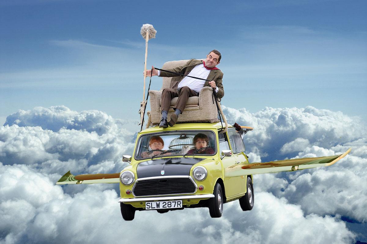 Photoshopean A Mr Bean Mientras Maneja Su Cl 225 Sico Coche