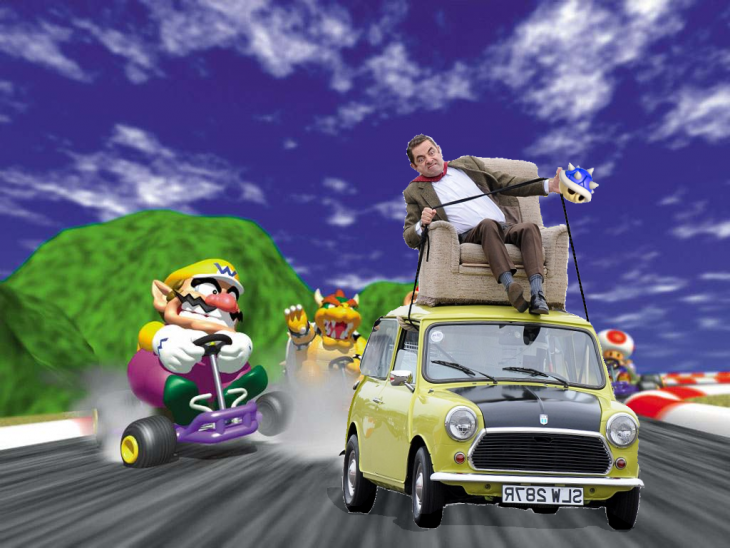 photosopean a mr bean Mario Kart