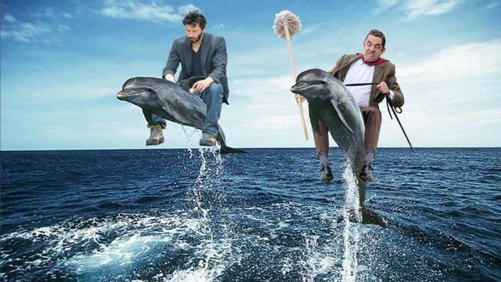 photosopean a mr bean Keanu Revees delfines