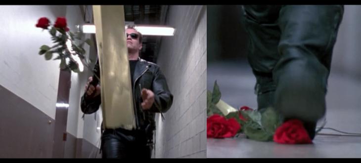 terminator 2 caja de rosas y escopeta