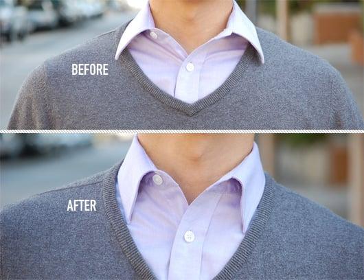 varillas en el cuello de camisa antes y despues