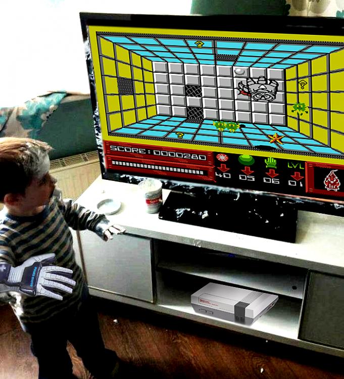 Niño mancha pantalla de televisor videojuego