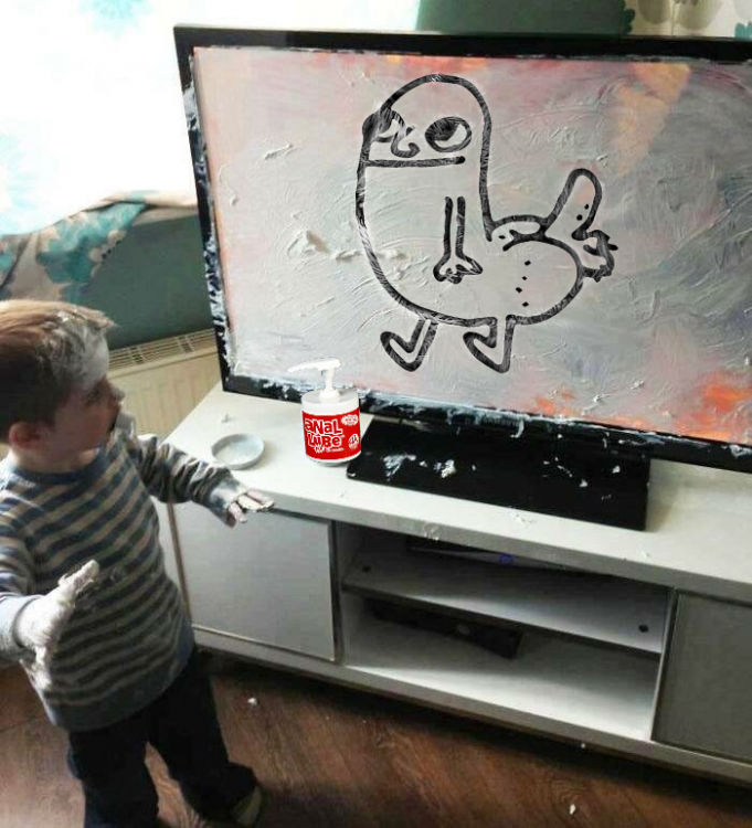 caricatura de Niño que mancha pantalla de televisor