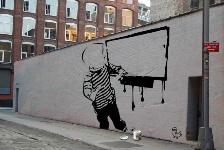 arte urbano Niño mancha pantalla de televisor